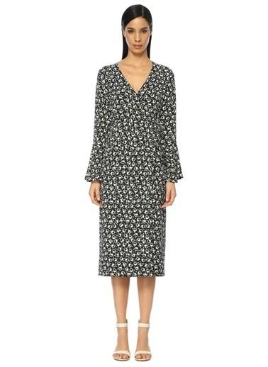 Uzun Kollu V Yaka Çiçekli Elbise-Essentiel Antwerp
